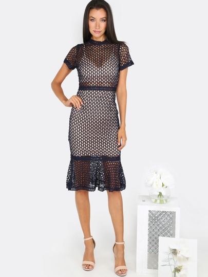 Circle Net Bodycon Dress BLACK