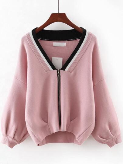 Pink V Neck Zipper Front Sweater