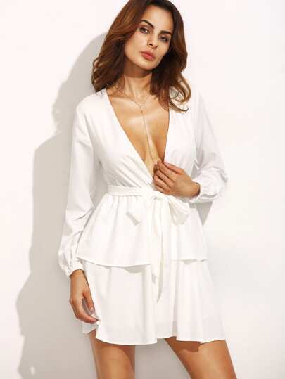 Ivory Deep V Neck Self Tie Long Sleeve Tiered Dress