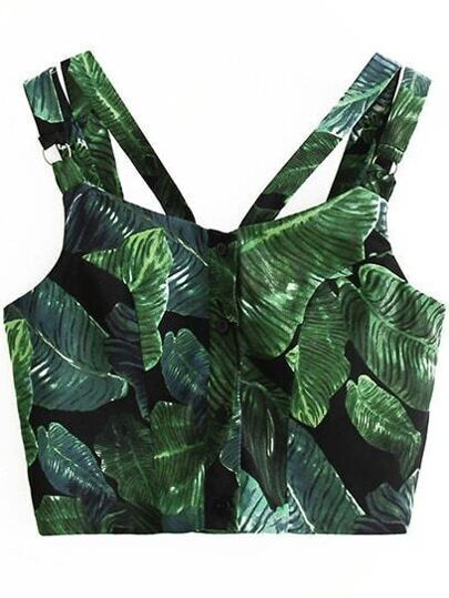 Green Printed Button Front Crop Top