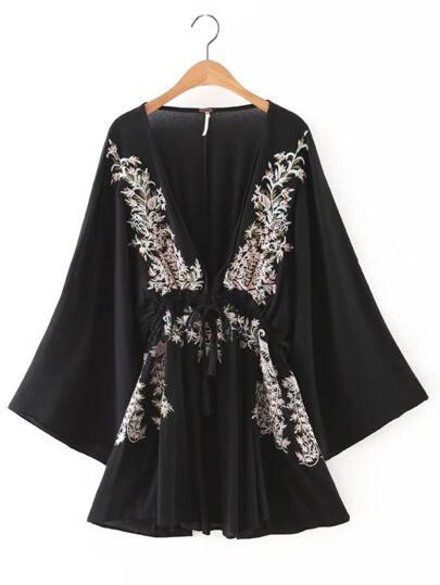 Black Deep V Neck Embroidered Tie Waist Dress
