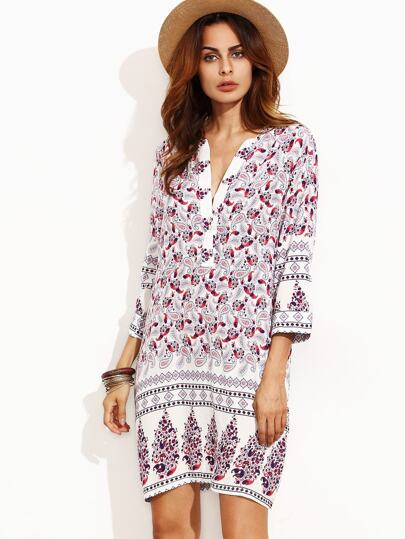 White Paisley Print Half Placket Tunic Dress