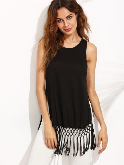 Black Split Side Tassel Hem Knitted Tank Top