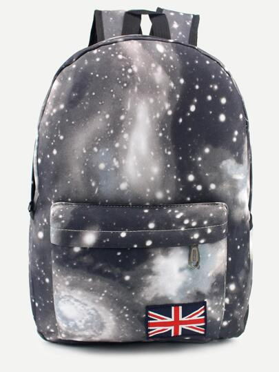 Black Galaxy Print Union Flag Patch Canvas Backpack