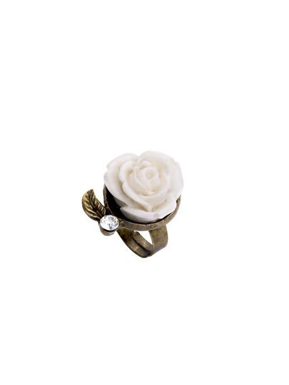 White Vintage Rose Embellished Ring