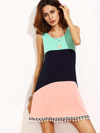 Color Block Sleeveless Pom Pom Trim Dress