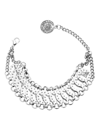 Silver Etched Coin Charm Anklet