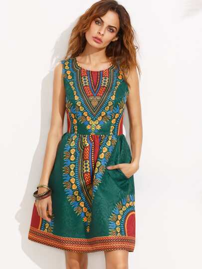 Multicolor Print Sleeveless Pocket Flare Dress
