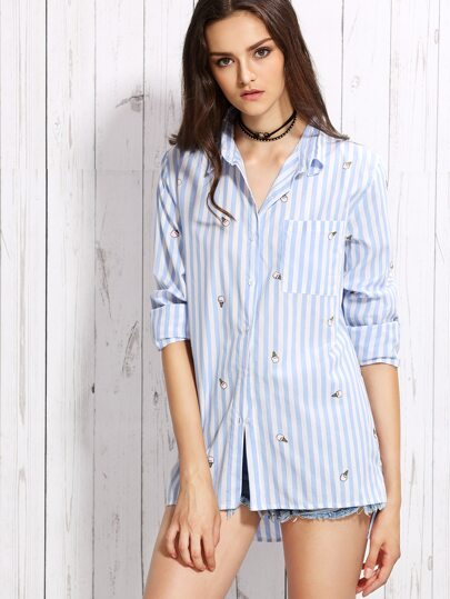 Blue Vertical Striped Ice Cream Print High Low Blouse