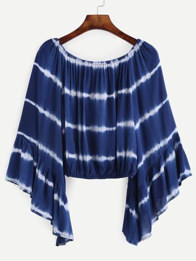 Blue Tie Dye Ruffle Sleeve Crop Top