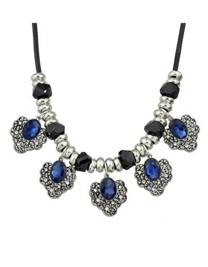 Darkblue Flower Statement Collar Necklace