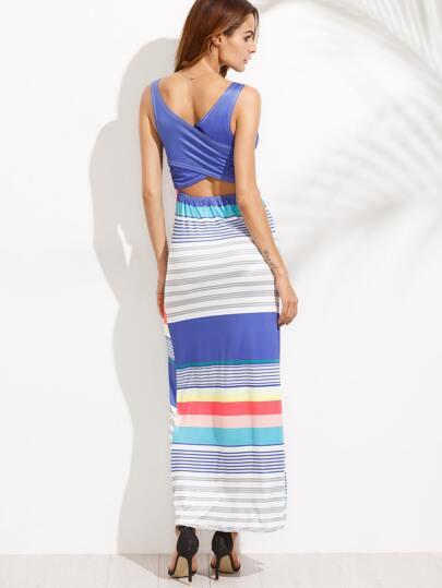 Striped Wrap Back Cut Out Tank Dress