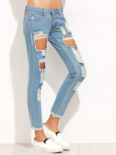 Blue Cut Out Cropped Denim Pants