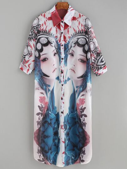 Multicolor Opera Characters Print Half Sleeve Shirt Dress