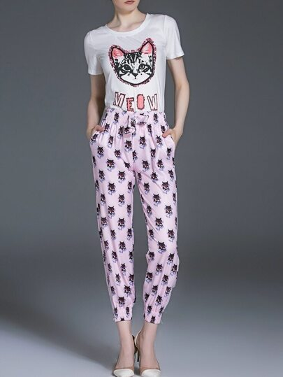 White Pink Cat Print Top With Elastic-Waist Pants