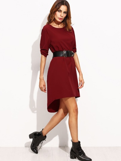 Burgundy Tie Waist Rolled Up Sleeve High Low Dress