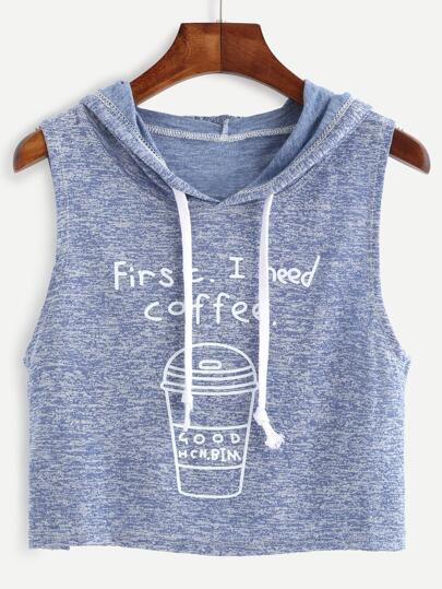 Blue Marled Knit Coffee Print Hooded Top