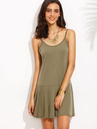 Army Green Ruffle Hem Slip Dress