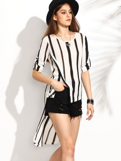 White Vertical Striped High Low Knit Top