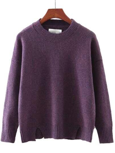 Purple Round Neck Split Knitwear