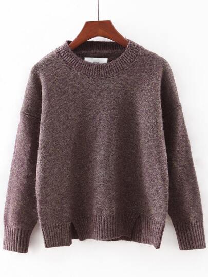 Jersey escote redondo abertura - marrón