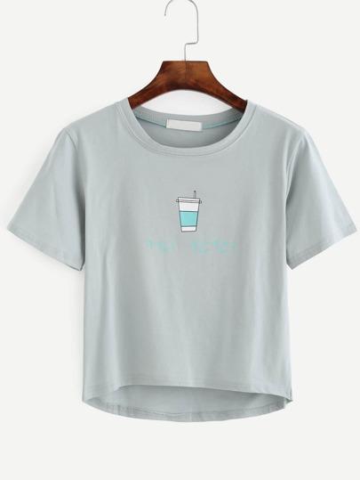 Grey Print Dip Hem T-shirt