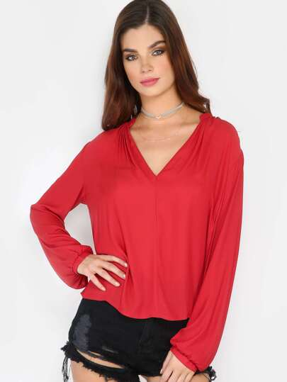 Long Sleeve Flowy Blouse RED
