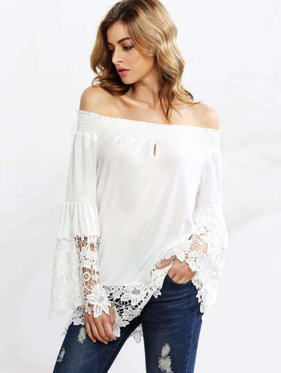 White Crochet Trim Smocked Off The Shoulder Top