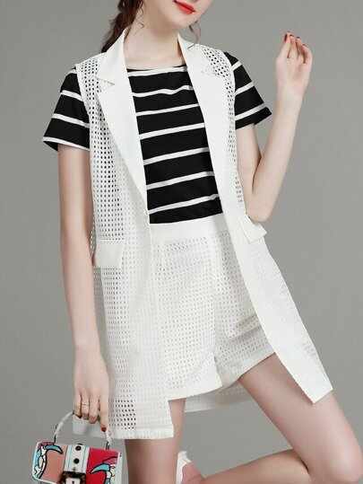 White Black Striped Waistcoat Three-piece Top With Mesh Shorts