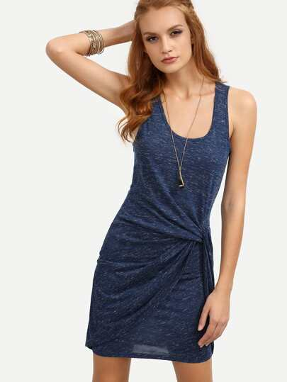 Dark Blue Sleeveless Scoop Neck Knot Bodycon Dress