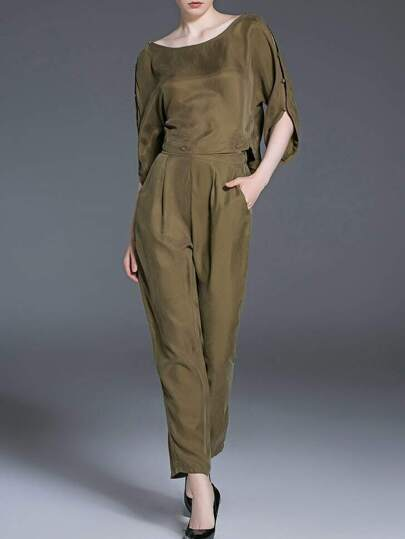 Army Green Spilt Sleeve Top With Pockets Pants