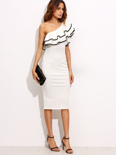 Frill Oblique Shoulder Contrast Binding Dress