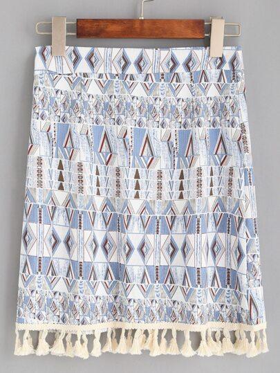 Blue Tribal Print Tassel Trim Skirt