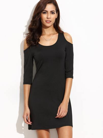Black Cold Shoulder Sheath Dress