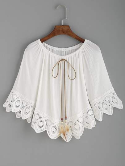 White Crochet Trim Tie Neck Off The Shoulder Top