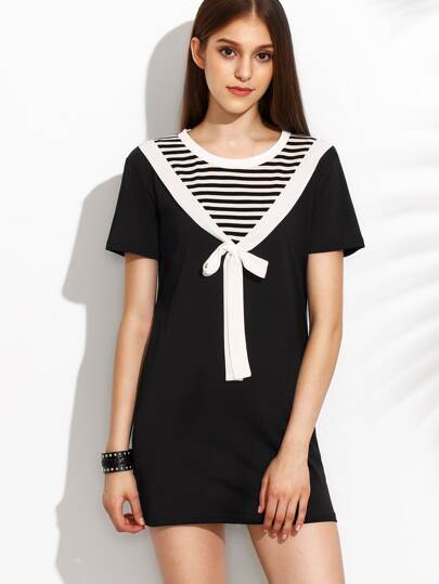 Black And White Round Neck Stripe Bow Dress