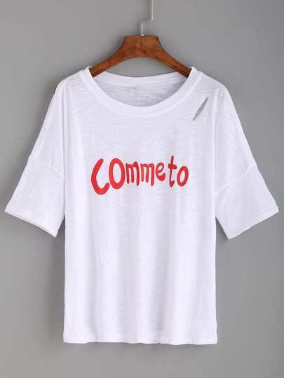 White Letter Print Split Sleeve T-shirt