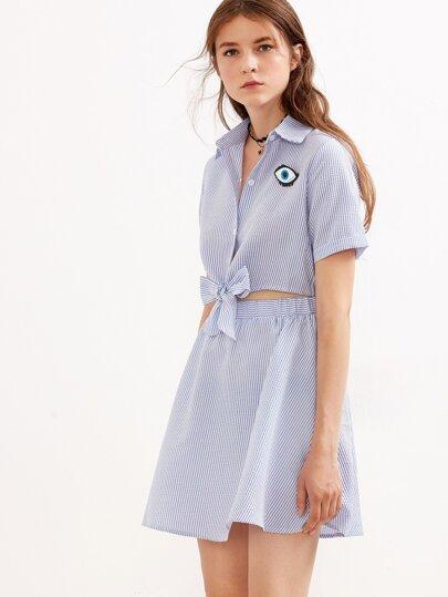 Blue Lapel Stripe Bow Button Casual Dress