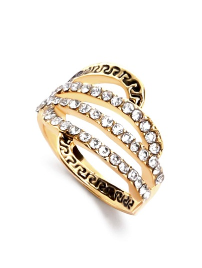 Gold Plated Rhinestone Cut Out Carved Ring