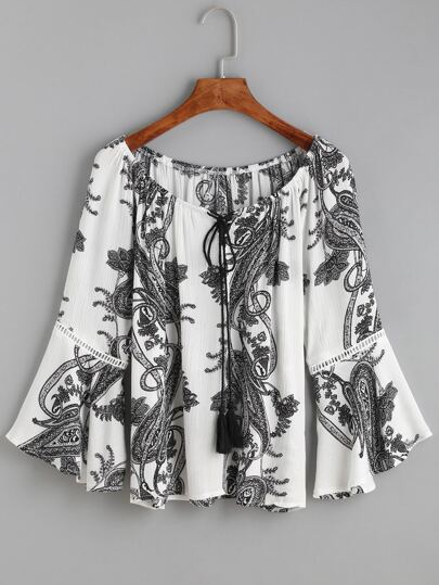 White Paisley Print Tie Neck Bell Sleeve Blouse