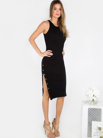 Ribbed Snap Button Slit Dress BLACK