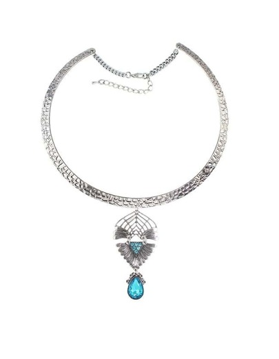 Lightblue Rhinestone Choker Necklace