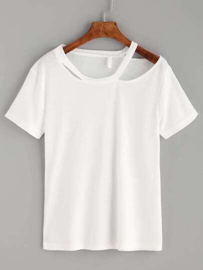 White Asymmetric Cutout Neck T-shirt