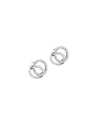 Silver Rhinestone Ring Dual Studs