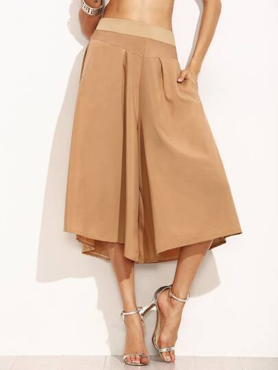 Khaki Wide Waistband Wide Leg Pants
