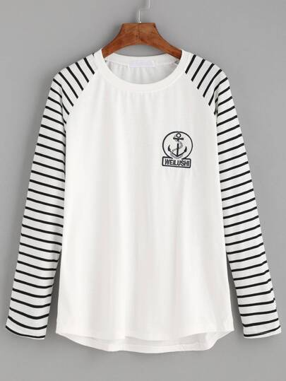 White Embroidered Patch Detail Striped Raglan Sleeve T-shirt