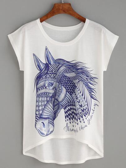 White Horse Print High Low T-shirt