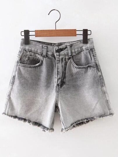 Grey Raw-edge Hem Denim Shorts