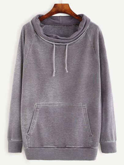 Heather Grey Distressed Funnel Collar Sweatshirt