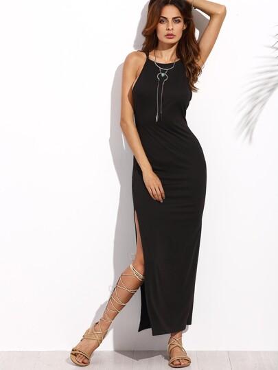 فستان طويل أسود بفتحة وحمالات رقيقة
